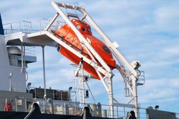 orange freefall life boat for emergency evacuation